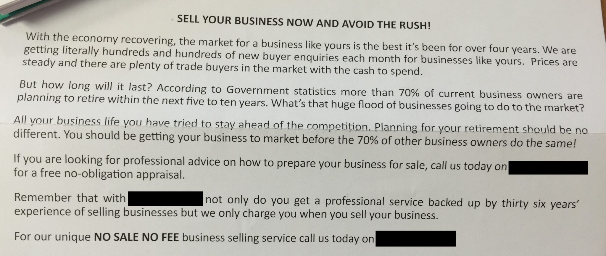 business sale prospecting letter